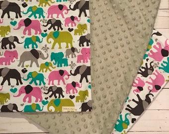 Elephant minky blanket