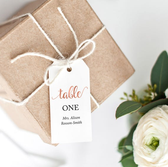 rose gold table numbers wedding printable