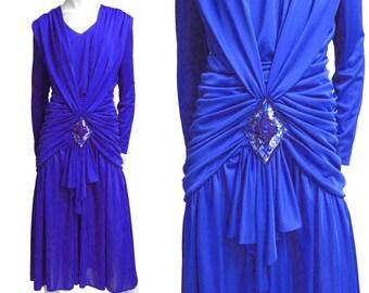 Evening gown draped dress vintage art deco 80s robe Purple Plissé sz L M in Whitney Houston Style: Year 1987