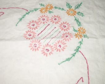 Vintage Handsewn/Handstitched Embroidered Cotton Tablecloth