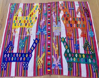 Guatemalan Textile Panel featuring animals