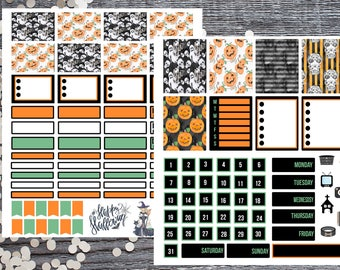 Black, Orange and Green Hourly 2 Page Kit-Hourly Halloween 2 Page Kit-Compatible with Most Large Planners and Journals
