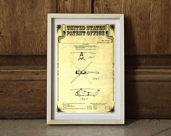 1956 Helicopter Patent, Helicopter Poster, Vintage Helicopter, Helicopter Print, Aviation Art, Pilot Gift, Aircraft Decor