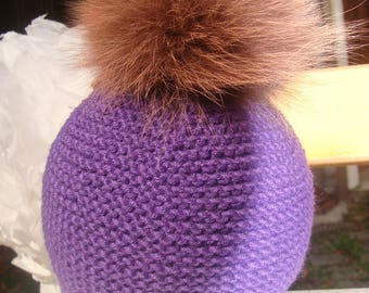 Size 6/12 months Hat 100% cashmere with Fox Fur Pompom