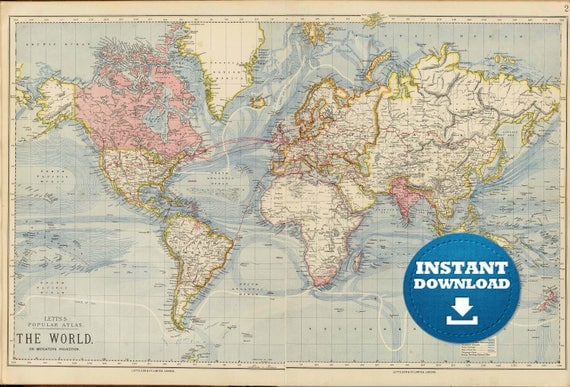 Digital Old World Map Hight Printable Download Vintage - World atlas usa