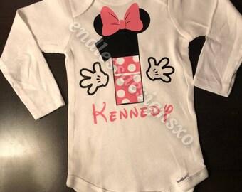Minnie Mouse First Birthday Onesie