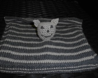 striped gray plush head amigurumi