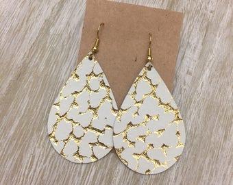Gold Metallic on Ivory Leather Earrings