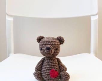 TEDDY BEAR amigurumi with a little heart, amigurumi bear, crochet bear, teddy bear baby gift, teddy bear crochet toy, teddy bear gift