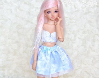 1/4 Minifee/Unoa/BJD/ Doll/Fairyland cute skirt with butterflys, shiny organza and bow