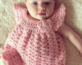 Baby dress Crochet angel wings pinafore 0-3 months pastel pink