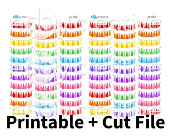 Rainbow Tassel Banners - Hand Drawn Printable Planner Stickers + Cut File - AL-042 - INSTANT DOWNLOAD