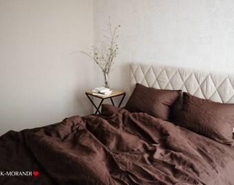 Brown Organic Linen Duvet Cover/Super Soft Linen duvet covers/Raw, Natural, Organic, Singe, Twin, Double, Queen, King all size