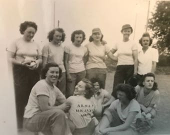 Vintage Photo Women's Baseball Team,Group of Women in Pants and TShirts Found Photo,Vintage Black & White Photo Young Women Casually Dressed