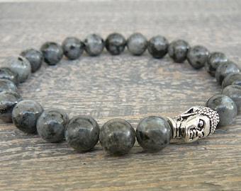 Buddha bracelet for mens Buddah Lavrickite bracelet Gray gemstone bracelet Yoga jewelry Yoga gift mens reiki beaded stretch energy bracelet