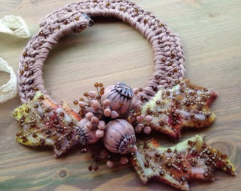 Unique boho necklace on crocheted cotton base with polymerclay dried poppy pods & felted leaves Summer jewelry Natural look Textile necklace