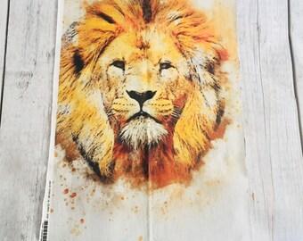Romper Panel: Cotton Spandex Fat Quarter, Lion