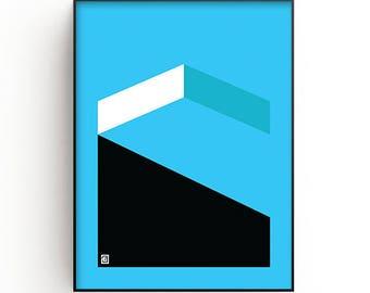 Abstract Wall Art Print, blue, black, white, Modern art, Contemporary art, Minimalist art, Printable art, geometric