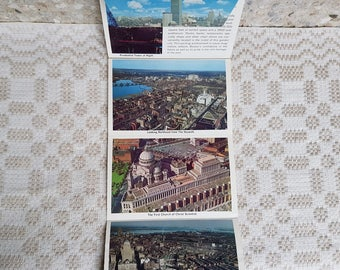 Set of seven twofold  vintage  postcards, vintage art postcards, souvenir world cities, old postcards of Prudential center , Boston, USA