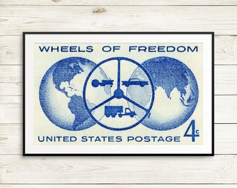 Wheels of Freedom, car lover gifts, old cars, old car poster, large map poster, garage decor, man cave poster, large blue art, huge blue art