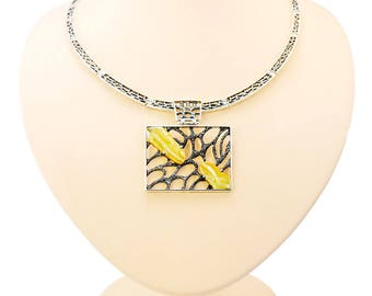 Amber , 925 sterling silver ,  honey necklace