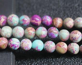 Purple Blue Sea Sediment Jasper , Emperor Stone Round Beads 8mm ,1 Strand 15 inch