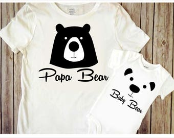 Papa Bear SVG DIY Fathers day gift svg Baby bear svg Dad cut file Father cricut Bear svg file Daddy svg Father and son matching shirts svg