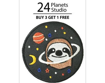 Sloth Planet Iron on Patch by 24PlanetsStudio Sloth Iron on Patch