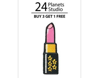 Buy 3 Get 1 Free Pink Lipstick Iron on Patch by 24PlanetsStudio