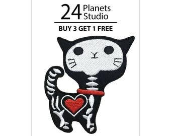 Ghost Cat Iron on Patch by 24PlanetsStudio