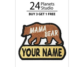 """Mama Bear """"Your Name"""" Iron on Patch by 24PlanetsStudio Your Text Custom Made DIY"""