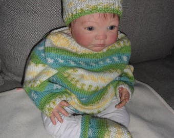 set for baby made sweater, hat and booties