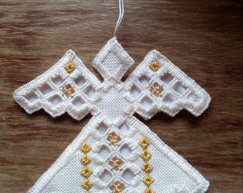 Angel in hardanger embroidery