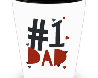 SET of 4!!  #1  DAD, The Man, The Myth, The Legend, Superhero, Hug Dad!!! Let him know how much you care! White Ceramic Shot Glass Gift!
