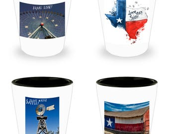 Set of 4 ICONIC TEXAS Photograph Shot Glasses! White Ceramic Shot Glasses Make An Awesome gift!