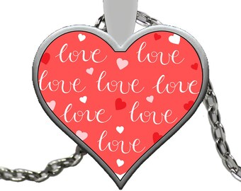 "I LOVE YOU Heart Shaped Necklace Hearts and Love Reds Jewelry Silver with Pendant! Wear it proudly on 22"" silver plated necklace!"