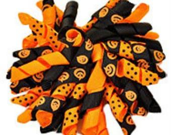 Halloween Korker Bow, Hair bow, Korker Hair Clip, Orange and Black Hair Clip, Pumpkin Bow, Pumpkin Hair Clip,Halloween Bow,Corker,Corker Bow