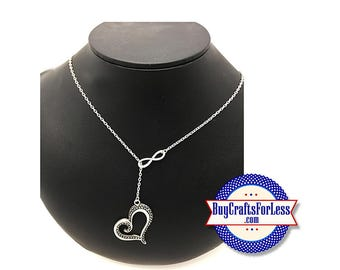 """Infinity HEART Love Necklace, Silver Finish, 24"""" +FREE SHiPPiNG & Discounts*"""