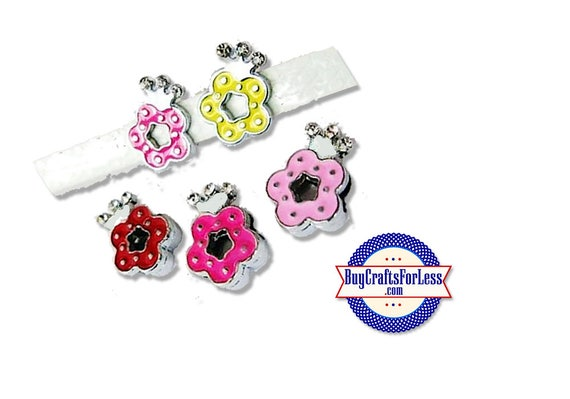 Slide FLOWER With Rhinestone CROWN for 8mm Slider Bracelets, Collars, Key Rings, 5 Colors +FREE Shipping & Discounts*