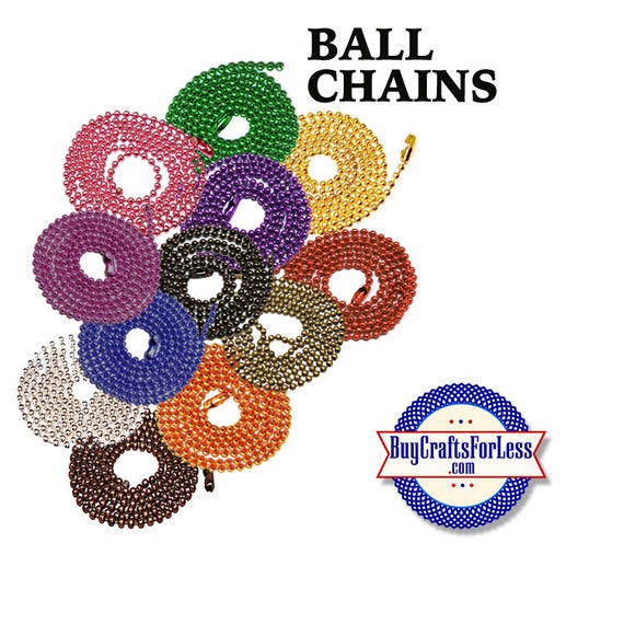 "Ball chains, 12 COLORS, 24"", 2.4mm +FREE Shipping + Discounts*"