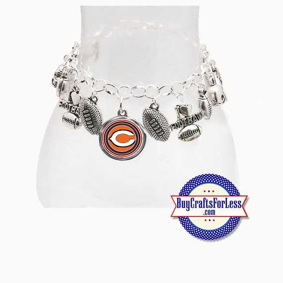 CHICAGO Football Silver Plated CHARM Bracelet  **FREE U.S. SHiPPiNG**