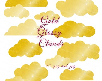 Gold Clouds Clipart, Chic Gold Clouds, Gold Clipart, Gold Foil Clip Art, Sparkling Clouds, Printable Clipart, Digital Clouds