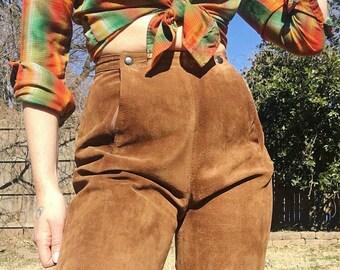 Vintage 80's Unique Suede Brown Leather Pants Size S 6 26