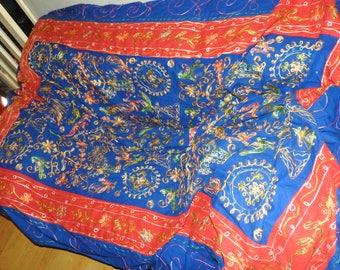 very large 20th century a blue&red blanket /plaid.