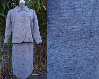 True Vintage Pristine late 1950s or very early 1960s Small X-Small Jackie O. Grey Suit Skirt & Jacket