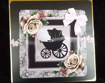 New Arrival Baby Card, New Baby Card, Baby Shower Card,  Baby Girl Card, 3 D Decoupage Handmade card, Made in the UK