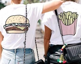 BFF Burger+Fries Tees / best friend gift / bff t shirts / best friend shirt