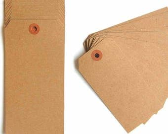 "Extra Large Recycled Natural Brown Kraft Shipping Tags With Reinforced Hang Tags No. 8 - 6 1/4"" X 3 1/8"" - Qty = 500"