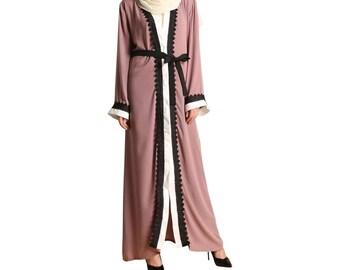 Latest dubai open front kimono abaya