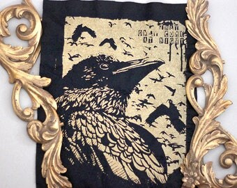 handprinted raven crow backpatch goldcolor